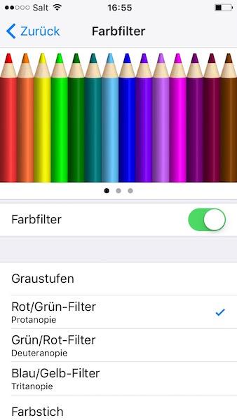 Barrierefreiheit Farbfilter