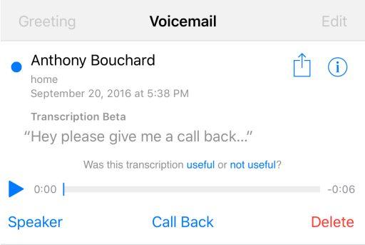 Screenshot Barrierefreiheit Voicemail Transkription