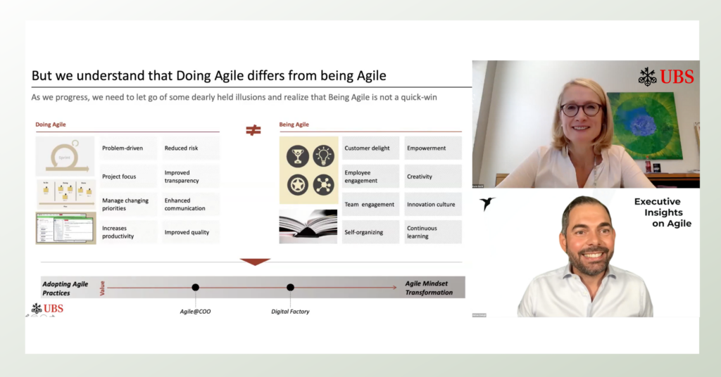 Karin Oertli, COO Region Switzerland UBS an den Executive Insights on Agile
